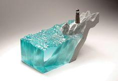 WEBSTA @ benyoung_sculpture - Now showing 'Seekers Thoughts' laminated float glass, cast concrete and bronze. Concrete Sculpture, Sculpture Art, Translucent Glass, Toy Art, Resin Art, Uv Resin, Nautical Theme, Cut Glass, Mosaic Glass