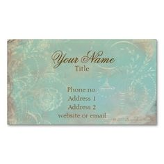 Vintage French Blue Toile and Script Business Cards. Make your own business card with this great design. All you need is to add your info to this template. Click the image to try it out!
