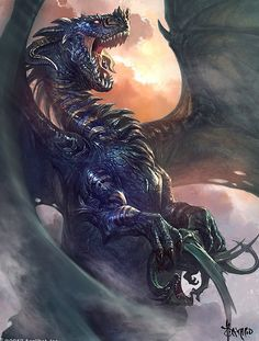 """""""Dragon by Bayard Wu"""" ooo, I normally don't like horned dragons but this one looks good"""