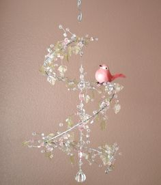 Pink and Green Leaf Crystal Mobile Chandelier w/ Perched Bird. $60.00, via Etsy.