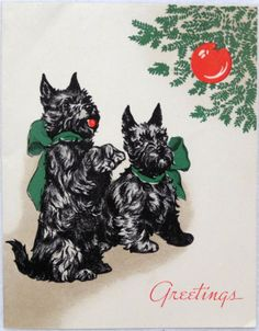1930s Scottie Dogs by the Tree-Vintage Christmas Greeting Card, Scottish Terrier