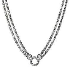 "DAVID YURMAN SILVER DOUBLE WHEAT CHAIN DIAMONDS NECKLACE, 18""L - http://designerjewelrygalleria.com/david-yurman/david-yurman-silver-double-wheat-chain-diamonds-necklace-18l/"