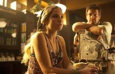 Still of Geoff Stults and Maddie Hasson in The Finder. I want this top. Anyone have any ideas for patterns?