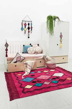 Inspired by the colors and shapes of Moroccan culture, the Assa wall hanging is the ideal element for making any home wall space look special. Lorena Canals Rugs, Rose Basket, Washable Area Rugs, Cotton Plant, Custom Rugs, Design Consultant, Wall Spaces, Animals For Kids, Soft Colors