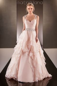 A very cute pink wedding dress by Martina Liana, Fall 2014