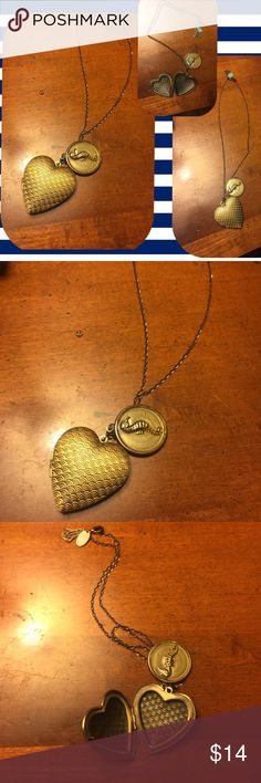 NWOT gold pendant necklace; ❤️& seahorse design Purchased this at a Canadian FP last year. Love it, it's genuinely lovely and very versatile but also has just a touch of adolescent kitsch. Heart is about 1.5 inches high with a scallop-type pattern on front, opens to reveal a small storage space. Seahorse emblem is about 1 inch. Hinge is sturdy and works fine, you could store photos or charms or I dunno, drugs? 😉Chain is about 2 feet I think, will measure when I get home...it hits me just…
