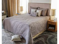 Welcome the spring and bring on fresh new style to your bedding with this leaf pattern fall quilt. This machine quilted bedspread will work in any bedroom for its natural taupe and grey soft looks and will add sophisticat Fall Quilts, Quilted Bedspreads, Machine Quilting, Bed Spreads, Bed Sheets, Taupe, Relax, Blanket, Luxury