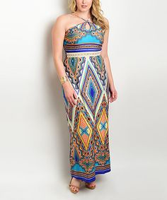 Blue & Purple Geometric Halter Maxi Dress - Plus #zulily #zulilyfinds