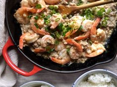 Insanely Easy Weeknight Dinners To Try This Week-Creamy Garlic Shrimp Over Rice.