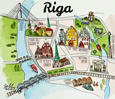 Map of Riga old town -watercolour