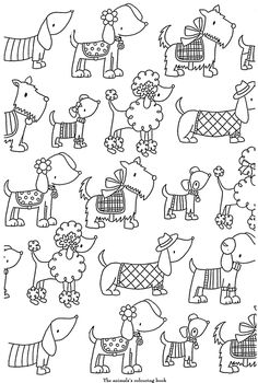 coloriage adulte art therapie, chiots, chiens.
