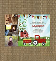 Printable Farm Birthday Invitation - Kids Barn Invitation - Vintage Farm Invitation - Tractor Invitation by EThreeDesignStudio on Etsy https://www.etsy.com/listing/106314064/printable-farm-birthday-invitation-kids