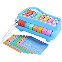 Baby Color Recognition and Geometry Learning Style 1 ATDAWN Wooden Shape Sorter Bus with Slide Out Xylophone Multifunctional and Bright Colors Wooden Musical Pounding Toy