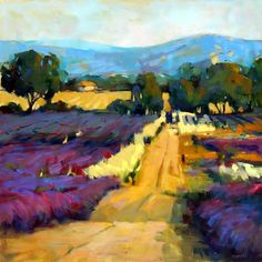 "Trisha Adams, Lavender Field...the artist says:   ""I am interested in the way a painting - a flat, inanimate object - can evoke feelings, especially those of joy, whimsy, wistfulness or serenity."""