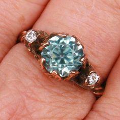 Victorian Blue Zircon & Diamond ring--ornate fancy setting from hillarys on Ruby Lane