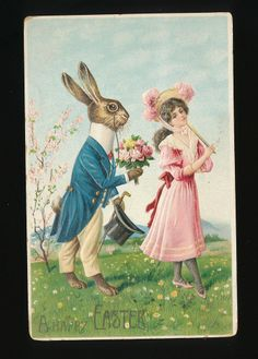 Dressed Rabbit with Pretty Lady & Bouquet of Flowers Easter Postcard-kkk424