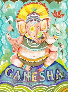 Ganesha art print Hindu Wall Art Elephant Deity by thewheatfield Ganesha, Hindu, Art Prints, Indian Art, Acrylic Artwork, Painting, Deities, Art, Yoga Art
