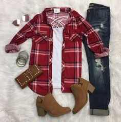 Penny Plaid Flannel Top: Red/Blue from privityboutique