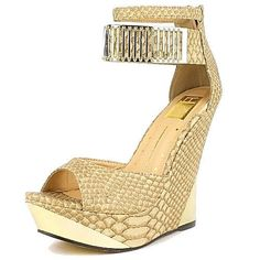 Linda 01 Beige Yellow Peep Toe Wedge Heel Gold Metal Band Trim Dress Party Shoes   eBay