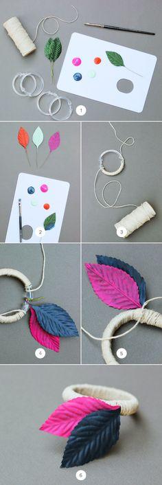 DIY Painted Silk Leaf Napkin Rings {Hank + Hunt for Julep}