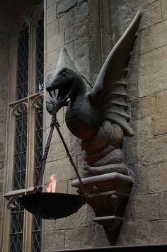 Gargoyle In The Great Hall, Hogwarts, photo by Gareth Morgan. Statues, Medieval, Dragons, Ange Demon, By Any Means Necessary, Gothic Architecture, Green Man, Mythical Creatures, Slytherin