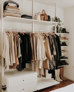 Kleiderschrank bright airy neutral open closet shoe storage organization ikea photo by Ikea Closet Storage, Bedroom Storage Ideas For Clothes, Bedroom Storage For Small Rooms, Hanging Closet Organizer, Open Clothes Storage, Closet Ideas, Storage Room, Ikea Clothing Storage, Diy Clothes Closet