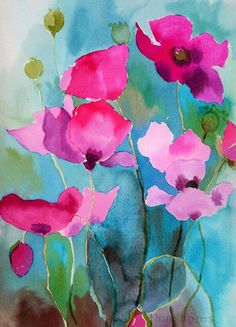 Bright Summer Colours. . . Artist: Diane Rogers. . .#pink. . .#turquoise . . #neon
