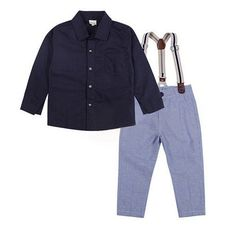 Boys Formal Suit Set Long Sleeve Shirt+Suspender Trousers