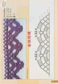 Bordes de punto, Crochet Crochet fotos y esquemas (de Internet) - usuario (Людмила (en su nombre)) en la comunidad Crochet en la categoría de ganchillo para principiantes Crochet Boarders, Crochet Edging Patterns, Crochet Lace Edging, Crochet Diagram, Crochet Chart, Crochet Trim, Crochet Stitches, Crochet Designs, Easy Crochet Projects