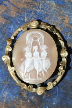 Large Antique Gold Filled Three Graces Hand Carved Shell Cameo Brooch Tube Hinge | eBay