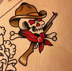 46 Ideas Tattoo Traditional Old School Skull Sailor Jerry For 2019 Cowboy Tattoos, Dog Tattoos, Small Tattoos, Traditional Tattoo Skull, Traditional Tattoo Sleeves, American Traditional Tattoos, Traditional Tattoo Drawings, Tattoo Homme, Blackwork