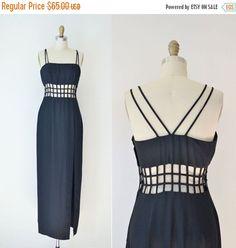 SALE 1990s Black Cage Dress / 90s Minimalist by FemaleHysteria