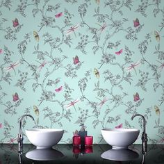 Nature Trail Duck Egg Wallpaper from the Modern Living Kitchen & Bath Collection by Graham & Brown