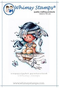 """Whimsy Stamps/Wee Stamps """"""""Wyanet (Beautiful)"""""""" Rubber Stamp"""