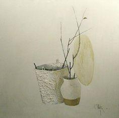 Boughs without Leaves - Constantin Piliuta Post Impressionism, Still Life, Planter Pots, Leaves, Vase, Painting, Decor, Dekoration, Decoration