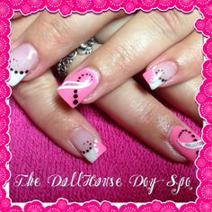 Breast cancer nails by Dakota at the dollhouse day spa