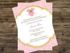 Pink fall baby shower invites