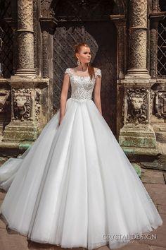 crystal design bridal 2016 cap sleeves scoop round neckline heavily embellished bodice a  line tulle ball gown wedding dress v back chapel train (maram) mv  #ballgown #aline #weddingdress