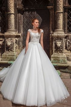 crystal design bridal 2016 cap sleeves scoop round neckline heavily embellished bodice a  line tulle ball gown wedding dress v back chapel train (maram) mv