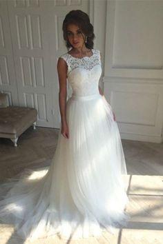 Sleeveless Lace White A-Line Sweep Train Wedding Dress WD096