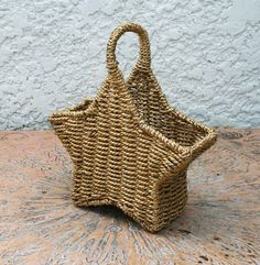 GoldToned Vintage Wicker and Wire Star Basket by MysticLily, $8.50
