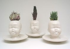 White Baby Head Vase - $45.00, via Etsy.