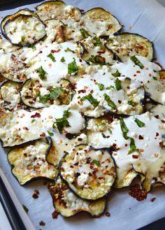 White Pizza Eggplant Nachos