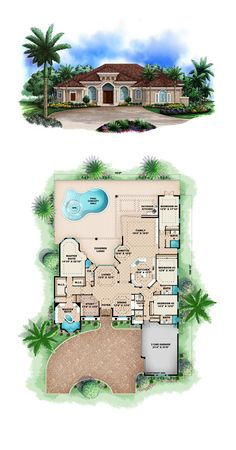 Luxury House Plan 60416 | Total Living Area: 3895 sq. ft., 4 bedrooms and 5 bathrooms. #luxuryhome