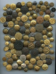 SOLD: Large lot of all kinds Uniform buttons vintage and antique buttons