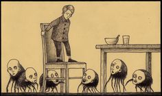 Los terroríficos monstruos dibujados en notas Pos-it de John Kenn Mortensen