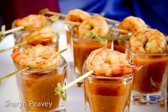 capers catering gazpacho shooter with grilled shrimp - sharyn peavey photography