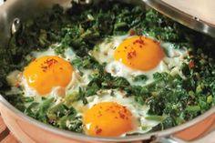Ispanaklı Yumurta Tarifi Turkish Recipes, Ethnic Recipes, Gourmet Recipes, Healthy Recipes, Turkish Kitchen, Kale And Spinach, Dessert Drinks, Mediterranean Recipes, Eggs