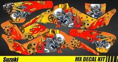 Kit Déco Quad / Atv Decal Kit Suzuki LTZ 400 - Motor Skull Yellow Quad Atv, Iron Man Birthday, Kit, Decals, Skull, Yellow, Ebay, Tags, Sticker