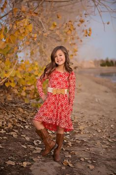 Girls Creekside Lace Dress with Belt Red - Ryleigh Rue Clothing by Modern Vintage Boutique